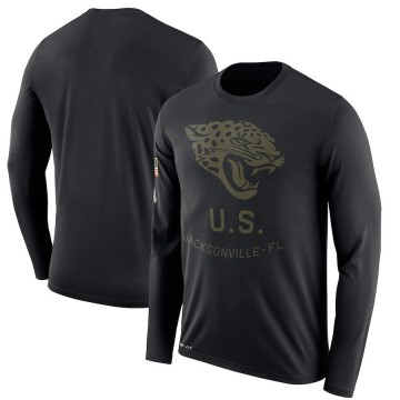 Men's Nike Jacksonville Jaguars Black 2018 Salute to Service Sideline Performance Long Sleeve T-Shirt - Legend