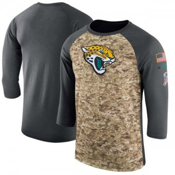 Men's Nike Jacksonville Jaguars Camo /Anthracite Salute to Service 2017 Sideline Performance Three-Quarter Sleeve T-Shirt - Lege