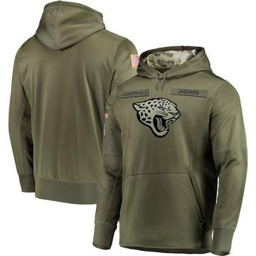 Men's Nike Jacksonville Jaguars Olive 2018 Salute to Service Sideline Therma Performance Pullover Hoodie -