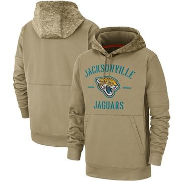 Men's Nike Jacksonville Jaguars Tan 2019 Salute to Service Sideline Therma Pullover Hoodie -