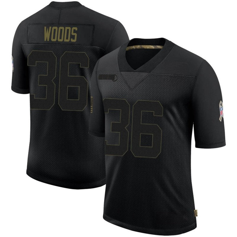 Men's Nike Jacksonville Jaguars Zedrick Woods Black 2020 Salute To Service Jersey - Limited