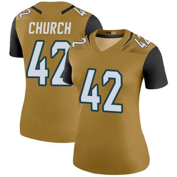 Women's Nike Jacksonville Jaguars Barry Church Gold Color Rush Bold Jersey - Legend