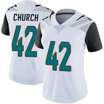 Women's Nike Jacksonville Jaguars Barry Church White Vapor Untouchable Jersey - Limited