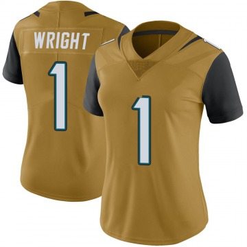 Women's Nike Jacksonville Jaguars Brandon Wright Gold Color Rush Vapor Untouchable Jersey - Limited