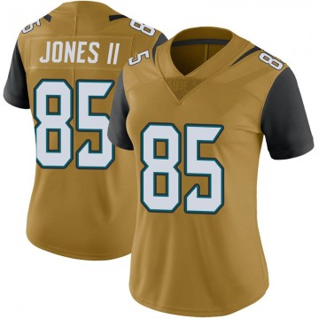 Women's Nike Jacksonville Jaguars Charles Jones II Gold Color Rush Vapor Untouchable Jersey - Limited