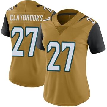 Women's Nike Jacksonville Jaguars Chris Claybrooks Gold Color Rush Vapor Untouchable Jersey - Limited