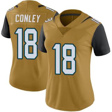 Women's Nike Jacksonville Jaguars Chris Conley Gold Color Rush Vapor Untouchable Jersey - Limited