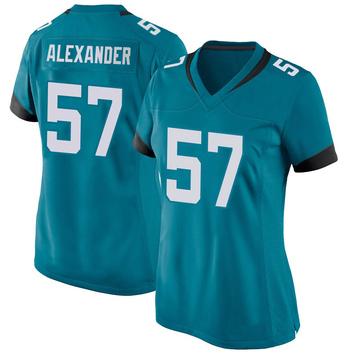 Women's Nike Jacksonville Jaguars D.J. Alexander Teal Jersey - Game