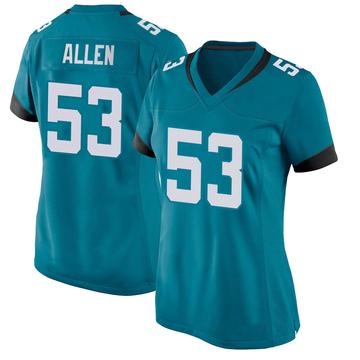 Women's Nike Jacksonville Jaguars Dakota Allen Teal Jersey - Game