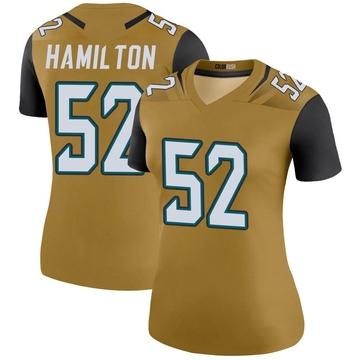 Women's Nike Jacksonville Jaguars Davon Hamilton Gold Color Rush Bold Jersey - Legend