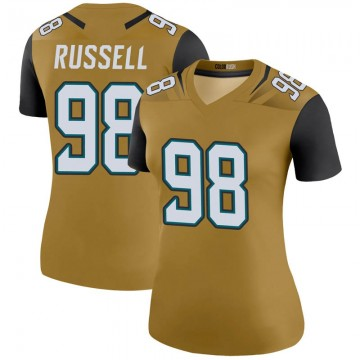 Women's Nike Jacksonville Jaguars Dontavius Russell Gold Color Rush Bold Jersey - Legend
