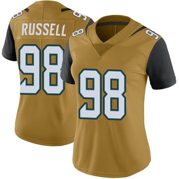 Women's Nike Jacksonville Jaguars Dontavius Russell Gold Color Rush Vapor Untouchable Jersey - Limited