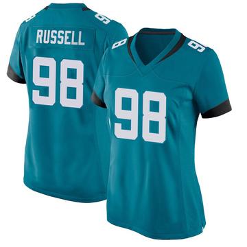 Women's Nike Jacksonville Jaguars Dontavius Russell Teal Jersey - Game