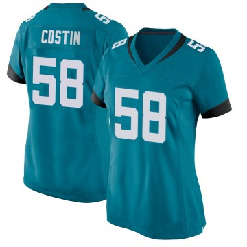 Women's Nike Jacksonville Jaguars Doug Costin Teal Jersey - Game