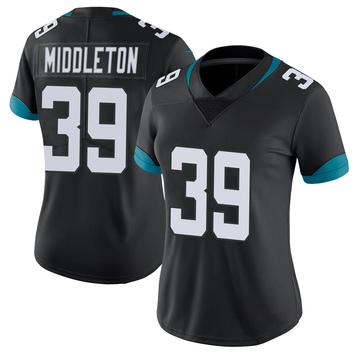Women's Nike Jacksonville Jaguars Doug Middleton Black 100th Vapor Untouchable Jersey - Limited