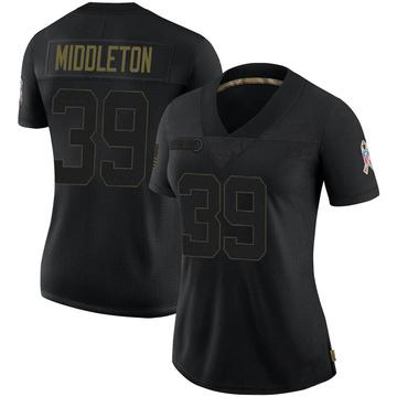 Women's Nike Jacksonville Jaguars Doug Middleton Black 2020 Salute To Service Jersey - Limited