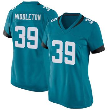 Women's Nike Jacksonville Jaguars Doug Middleton Teal Jersey - Game