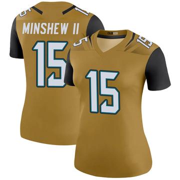 Women's Nike Jacksonville Jaguars Gardner Minshew Gold Color Rush Bold Jersey - Legend