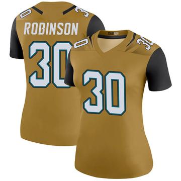 Women's Nike Jacksonville Jaguars James Robinson Gold Color Rush Bold Jersey - Legend