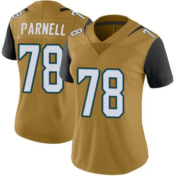 Women's Nike Jacksonville Jaguars Jermey Parnell Gold Color Rush Vapor Untouchable Jersey - Limited