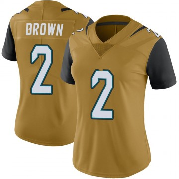 Women's Nike Jacksonville Jaguars Jonathan Brown Gold Color Rush Vapor Untouchable Jersey - Limited