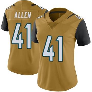 Women's Nike Jacksonville Jaguars Josh Allen Gold Color Rush Vapor Untouchable Jersey - Limited