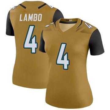 Women's Nike Jacksonville Jaguars Josh Lambo Gold Color Rush Bold Jersey - Legend