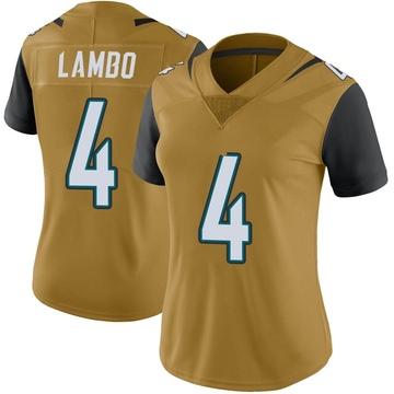 Women's Nike Jacksonville Jaguars Josh Lambo Gold Color Rush Vapor Untouchable Jersey - Limited