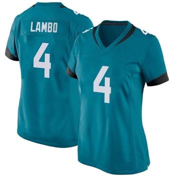Women's Nike Jacksonville Jaguars Josh Lambo Teal Team Color Jersey - Game