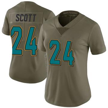 Women's Nike Jacksonville Jaguars Josiah Scott Green 2017 Salute to Service Jersey - Limited