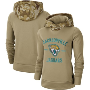 Women's Nike Jacksonville Jaguars Khaki 2019 Salute to Service Therma Pullover Hoodie -
