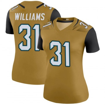 Women's Nike Jacksonville Jaguars Kobe Williams Gold Color Rush Bold Jersey - Legend