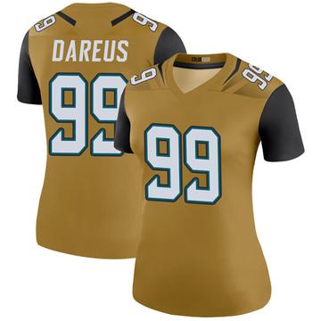 Women's Nike Jacksonville Jaguars Marcell Dareus Gold Color Rush Bold Jersey - Legend