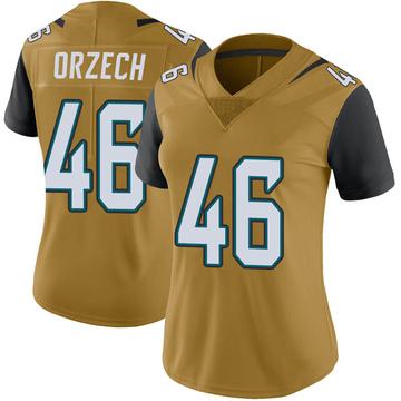 Women's Nike Jacksonville Jaguars Matthew Orzech Gold Color Rush Vapor Untouchable Jersey - Limited