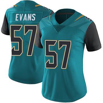 Women's Nike Jacksonville Jaguars Nate Evans Teal Vapor Untouchable Team Color Jersey - Limited