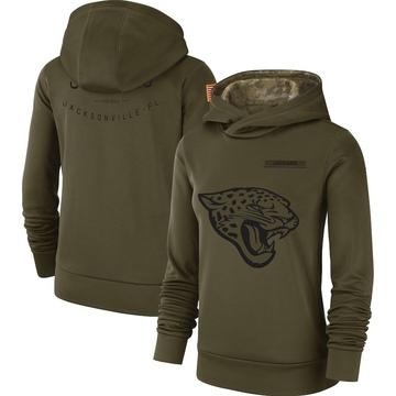 Women's Nike Jacksonville Jaguars Olive 2018 Salute to Service Team Logo Performance Pullover Hoodie -