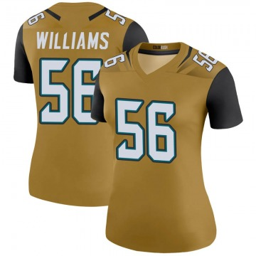 Women's Nike Jacksonville Jaguars Quincy Williams Gold Color Rush Bold Jersey - Legend