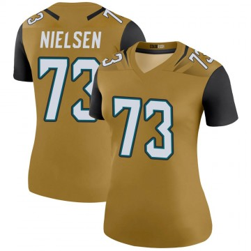 Women's Nike Jacksonville Jaguars Steven Nielsen Gold Color Rush Bold Jersey - Legend