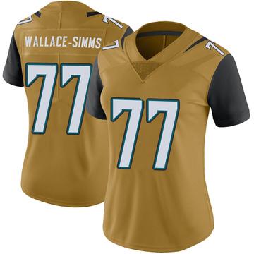 Women's Nike Jacksonville Jaguars Tre'Vour Wallace-Simms Gold Color Rush Vapor Untouchable Jersey - Limited