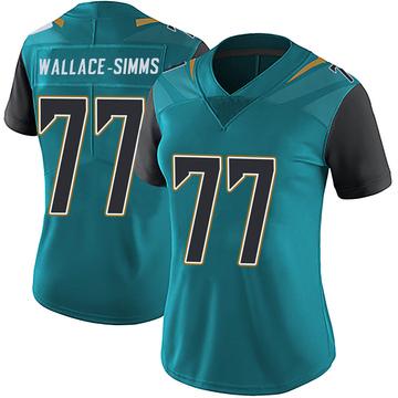 Women's Nike Jacksonville Jaguars Tre'Vour Wallace-Simms Teal Vapor Untouchable Team Color Jersey - Limited
