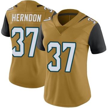 Women's Nike Jacksonville Jaguars Tre Herndon Gold Color Rush Vapor Untouchable Jersey - Limited