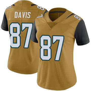 Women's Nike Jacksonville Jaguars Tyler Davis Gold Color Rush Vapor Untouchable Jersey - Limited