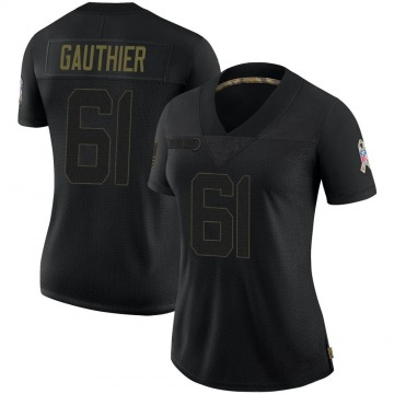 Women's Nike Jacksonville Jaguars Tyler Gauthier Black 2020 Salute To Service Jersey - Limited