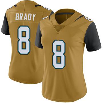 Women's Nike Jacksonville Jaguars Tyre Brady Gold Color Rush Vapor Untouchable Jersey - Limited