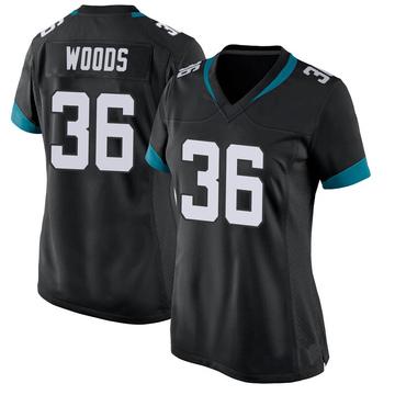 Women's Nike Jacksonville Jaguars Zedrick Woods Black Jersey - Game