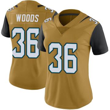 Women's Nike Jacksonville Jaguars Zedrick Woods Gold Color Rush Vapor Untouchable Jersey - Limited