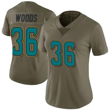 Women's Nike Jacksonville Jaguars Zedrick Woods Green 2017 Salute to Service Jersey - Limited