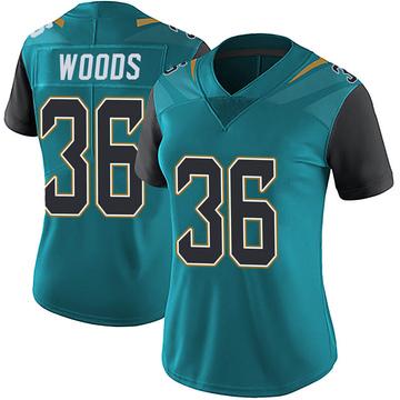 Women's Nike Jacksonville Jaguars Zedrick Woods Teal Vapor Untouchable Team Color Jersey - Limited