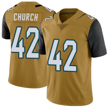 Youth Nike Jacksonville Jaguars Barry Church Gold Color Rush Vapor Untouchable Jersey - Limited