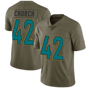 Youth Nike Jacksonville Jaguars Barry Church Green 2017 Salute to Service Jersey - Limited